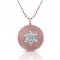 14K Rose Star Of David Diamond Disc Pendant
