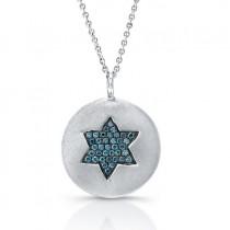 14k White Gold Blue Diamond Star of David Disk Pendant