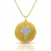 14K Yellow Diamond Disc Cross Necklace