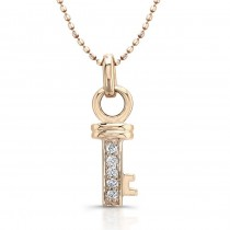 14k Rose Gold  Small Diamond Key Pendant