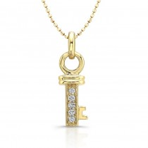 14kt Yellow Small Diamond Key Pendant