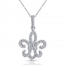 Sterling Silver Fleur De Lis Diamond Pendant