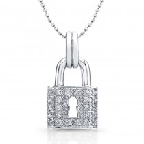 14kt White Gold Classic Diamond Lock Pendant