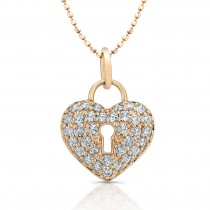 14kt Rose Diamond Heart Keyhole Pendant