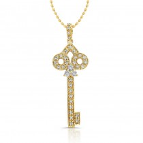 14K Yellow Diamond Key Pendant 1/5 CT