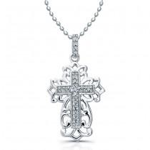 14k White Gold Diamond Cross Filigree Design Necklace .05CTW