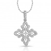 14K White Gold Filigree Diamond Cross Pendant 1/5CTW