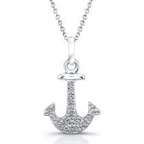 14k White Gold Diamond Anchor Pendant