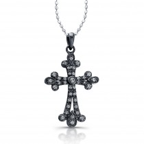 14K White Diamond Cross Vintage Design- Black Rhodium