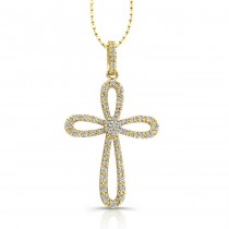 14k Yellow  Diamond Cross Pendant: Cluster Center