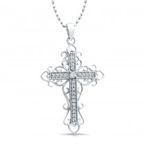 14K White Vintage Diamond Cross -Filigree Design .10CTW
