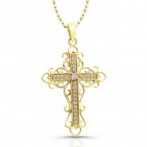 14K Yellow Vintage Diamond Cross Filigree Design .10CTW