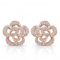 14k Rose Gold Diamond Flower Earrings