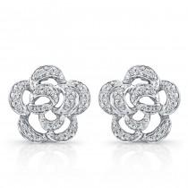 14k White Gold  Flower Diamond Earrings