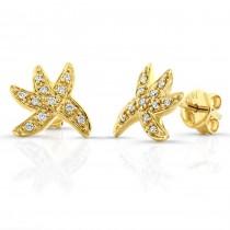 Starfish Diamond Earrings, 14k Yellow Gold