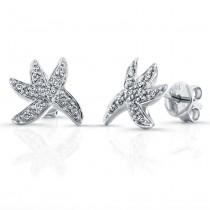 14k White Gold  Diamond Starfish Earrings