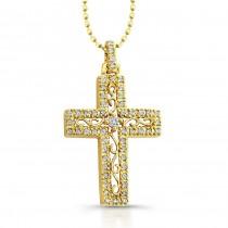 14K Yellow Elegant Vintage Diamond Cross Pendant