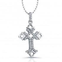 14K White Diamond Cross Pendant: Fleur De Lis Design