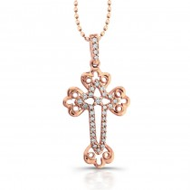 14k Rose Gold Diamond Accent Edge Cross Pendant .15CTW
