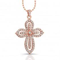 14k Rose Gold Diamond Cut-Out Cross Pendant