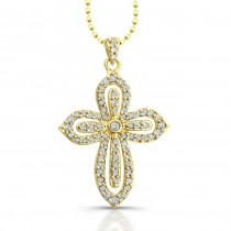 14k Yellow Gold Diamond Cut-Out Cross Pendant
