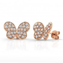 14k Rose Gold Diamond Pave Butterfly Earrings