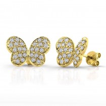 14k Yellow Gold Diamond Pave Butterfly Earrings