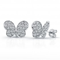 14k White Gold Diamond Pave Butterfly Earrings