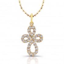 14kt Yellow Gold Celtic Diamond Cross Pendant
