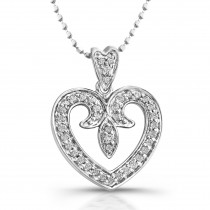 14kt White Gold Vintage Diamond Pave Heart