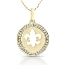 14k Yellow Gold Diamond Fleur De Lys Necklace