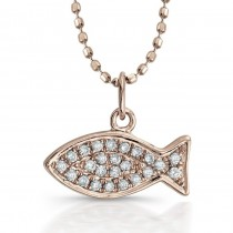 Coby Madison 14k Rose Gold Diamond Fish Pendant