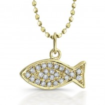 14k Yellow Gold Pave Diamond Fish Pendant
