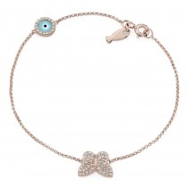 Rose Gold Butterfly Fish and Evil Eye Diamond Bracelet