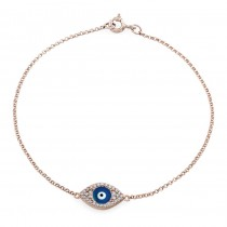 14k Rose Gold Diamond Evil Eye Enamel Bracelet