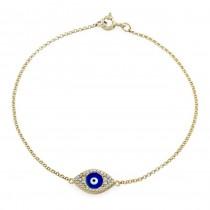 14k YG Diamond Evil Eye Bracelet-Dark Blue Enamel