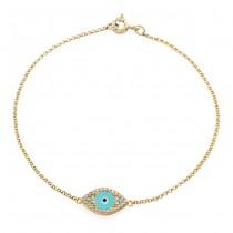 14k YG Evil Eye Bracelet Turquoise Enamel