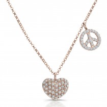 Rose Gold Heart, Peace Sign Diamond Necklace
