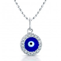 14K White Dark Blue Enamel Baby Evil Eye