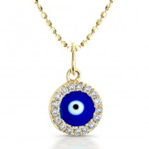 Yellow Gold Dark Blue Enamel Baby Evil Eye Necklace