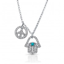 White Gold Hamsa-Peace Sign Necklace