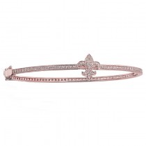14K Rose Gold Diamond Fleur De Lys Bangle
