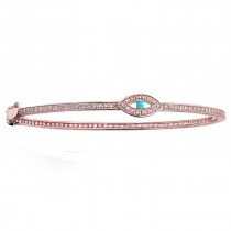 14K ROSE GOLD DIAMOND TURQUOISE EVIL EYE BANGLE