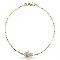Yellow Gold Pave Diamond Hamsa Bracelet