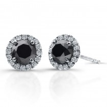 2 Carat Black Diamond Stud Earrings with Halo