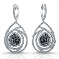 18k White Gold Rose Cut Brown Diamond Chandelier Earrings