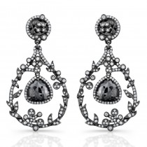 Black Diamond Chandelier Drop Earrings