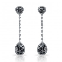 White Gold Pear Shaped Black Diamond Drop Earrings