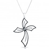 14k White Gold Black-White Diamond Cross Pendant