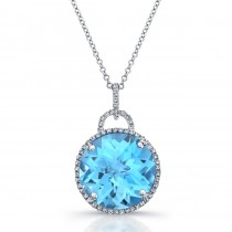 14k White Gold Blue Topaz Diamond Halo Pendant